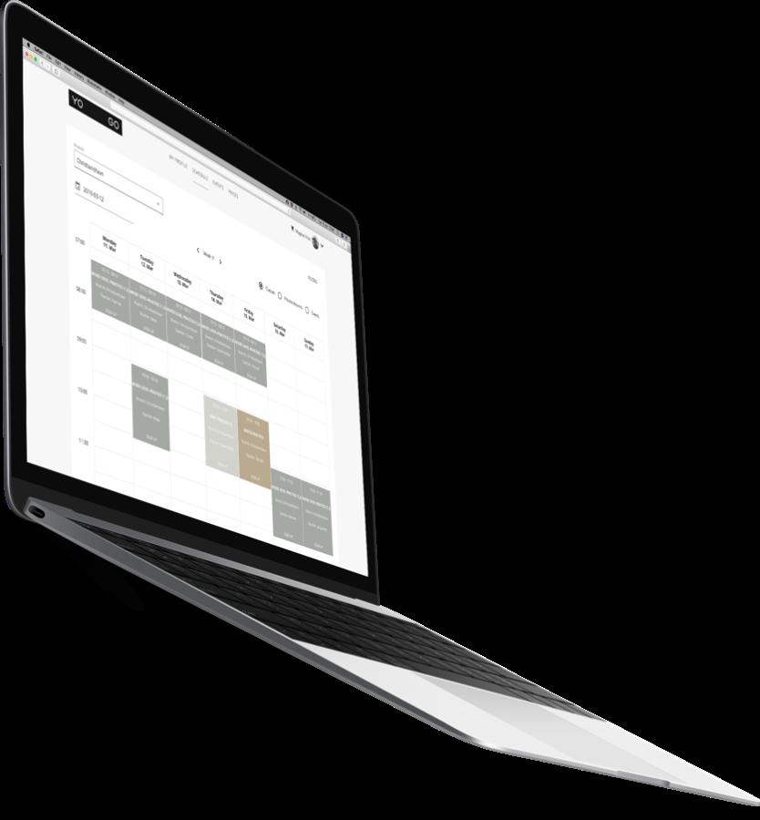 YOGO bookingsystem laptop